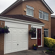 White GRP canopy garage door