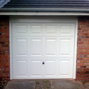 White GRP up-and-over garage door