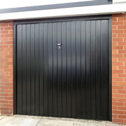 Black steel canopy garage door